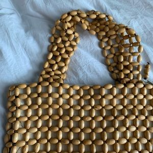 Vintage Bags - Vintage Wooden Bead Small Tote Bag Purse